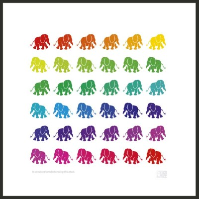 Rainbow Elephants | Poster | Square