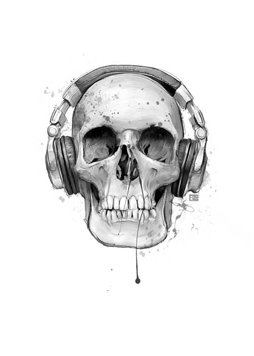 Skull With Headphones | Poster | Vertical