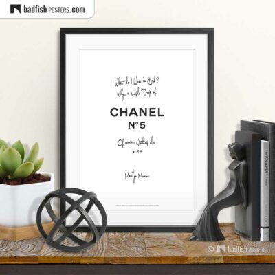 A Drop Of Chanel N° 5 | Typographic Fashion Poster | © BadFishPosters.com