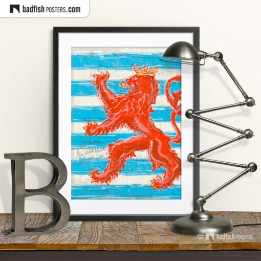 Flag Of Luxembourg | Red Lion | Art Poster | © BadFishPosters.com