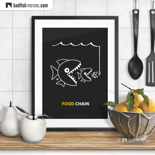 The Food Chain | Comic Style Poster | © BadFishPosters.com