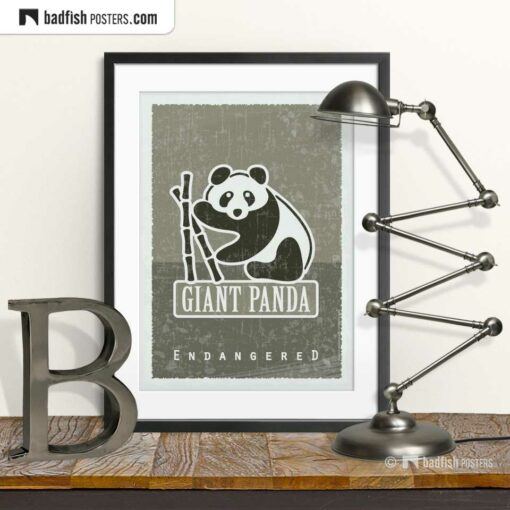 Giant Panda | Endangered | Graphic Poster | © BadFishPosters.com