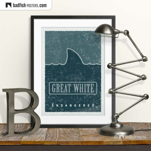Great White | Endangered | Graphic Poster | © BadFishPosters.com