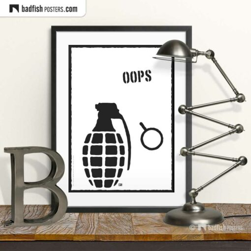 Oops | Explosive Comic Style Poster | © BadFishPosters.com
