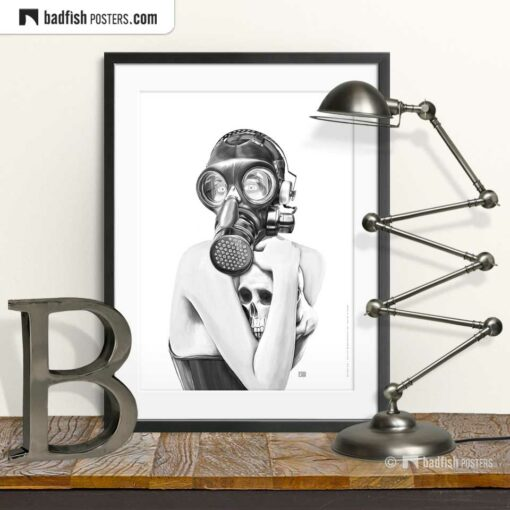 Gas Mask Girl | Goth Art Poster | © BadFishPosters.com