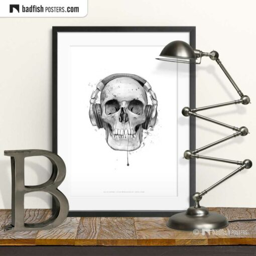 Skull With Headphones | Art Poster | © BadFishPosters.com