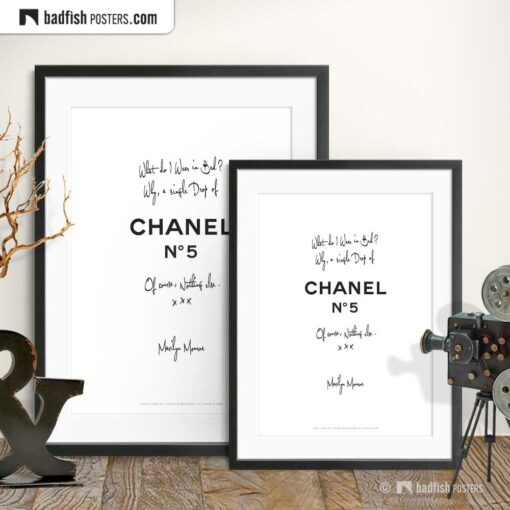 A Drop Of Chanel N° 5 | Typographic Fashion Poster | Gallery Image | © BadFishPosters.com
