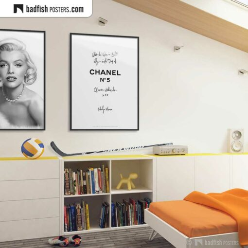 A Drop Of Chanel N° 5   Typographic Fashion Poster   Gallery Image   © BadFishPosters.com
