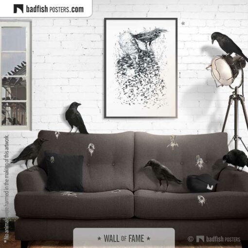 Alfred Hitchcock | Hitch with Crow | Art Poster | Gallery Image | © BadFishPosters.com