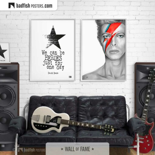 David Bowie | Heroes | Typographic Poster | Gallery Image | © BadFishPosters.com