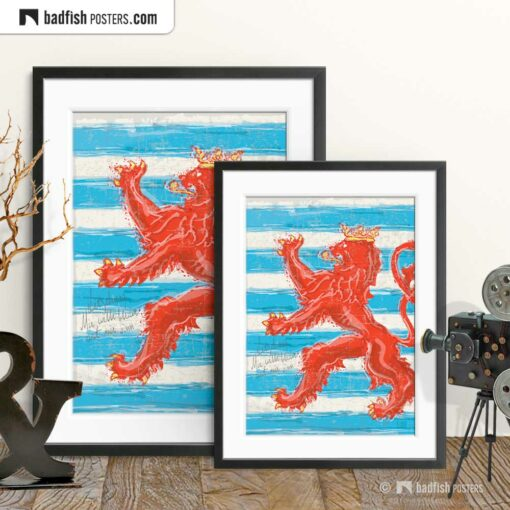 Flag Of Luxembourg | Red Lion | Art Poster | Gallery Image | © BadFishPosters.com