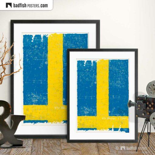 Flag Of Sweden | Art Poster | Gallery Image | © BadFishPosters.com