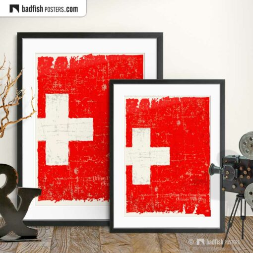 Flag Of Switzerland | Art Poster | Gallery Image | © BadFishPosters.com