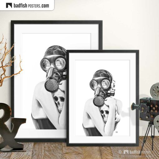 Gas Mask Girl | Goth Art Poster | Gallery Image | © BadFishPosters.com