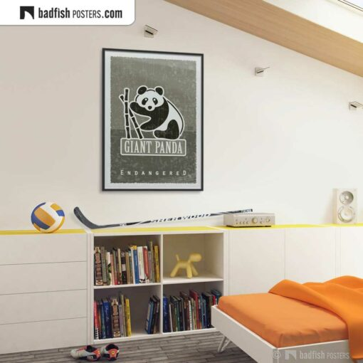 Giant Panda | Endangered | Graphic Poster | Gallery Image | © BadFishPosters.com