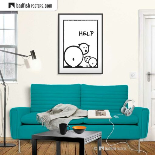 Help | Polar Bears | Comic Style Poster | Gallery Image | © BadFishPosters.com