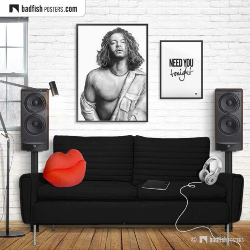 Michael Hutchence And Need You Tonight | Set of 2 - Art Poster And Typographic Poster | Gallery Image | © BadFishPosters.com
