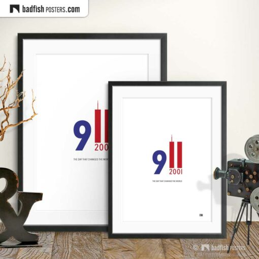 9/11 | Nine Eleven 2001 | Graphic Tribute Poster | Gallery Image | © BadFishPosters.com