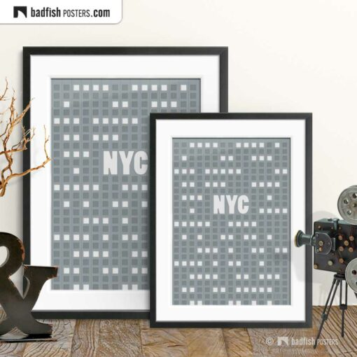 NYC | New York City | Empire State | Graphic Poster | Gallery Image | © BadFishPosters.com