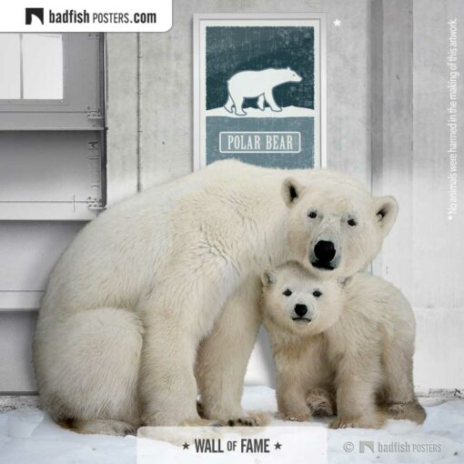 Polar Bear | Endangered | Graphic Poster | Gallery Image | © BadFishPosters.com