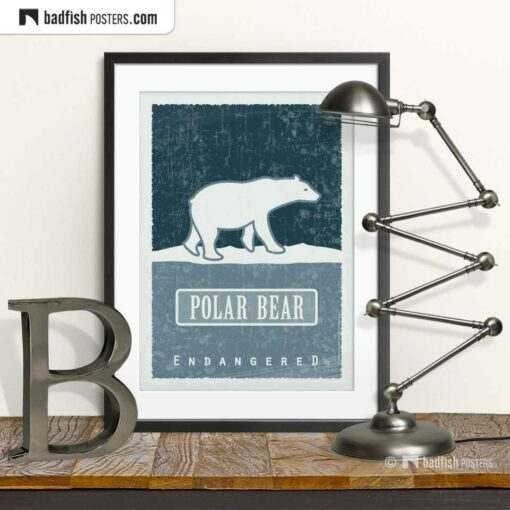 Polar Bear | Endangered | Graphic Poster | © BadFishPosters.com