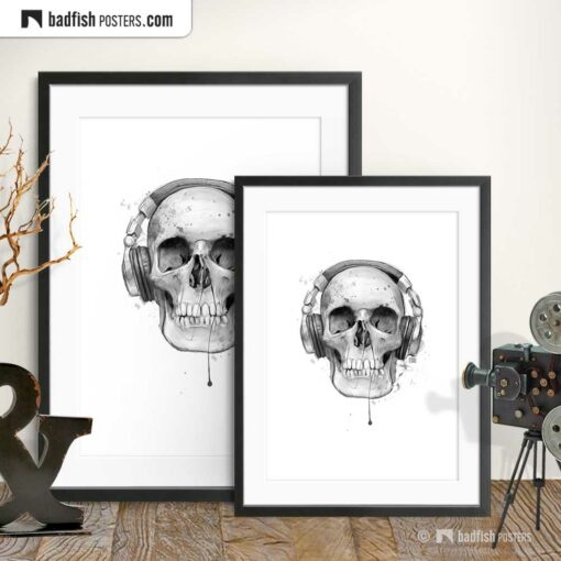 Skull With Headphones | Art Poster | Gallery Image | © BadFishPosters.com