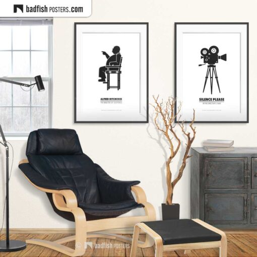 Alfred Hitchcock | Director's Chair | Minimal Movie Poster | Gallery Image | © BadFishPosters.com