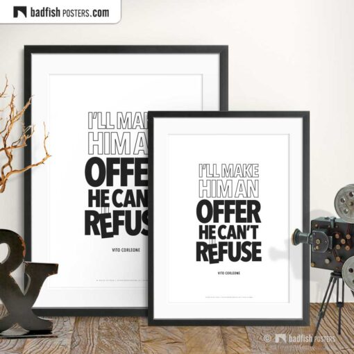 An Offer He Can't Refuse | Typographic Movie Poster | Gallery Image | © BadFishPosters.com