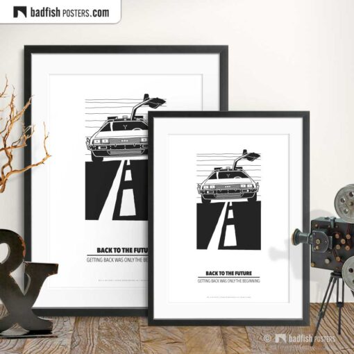 Back To The Future | DeLorean | Minimal Movie Poster | Gallery Image | © BadFishPosters.com