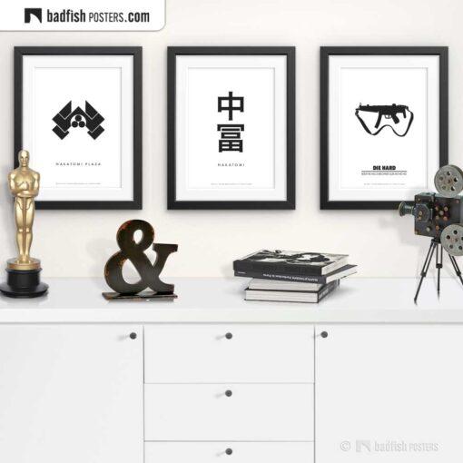 Die Hard | Nakatomi | Japanese Signs | Minimal Movie Poster | Gallery Image | © BadFishPosters.com