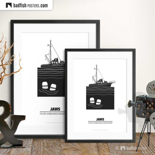Jaws | Shark Seeker Orca | Minimal Movie Poster | Gallery Image | © BadFishPosters.com