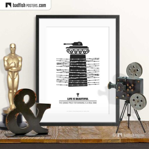 Life Is Beautiful   Grand Prize   Minimal Movie Poster   © BadFishPosters.com