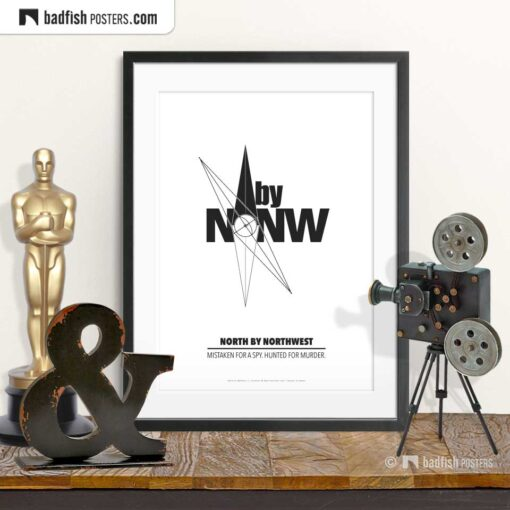 North By Northwest | N by NW | Compass | Minimal Movie Poster | © BadFishPosters.com