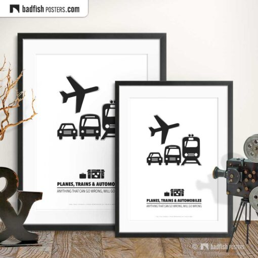 Planes, Trains And Automobiles | Minimal Movie Poster | Gallery Image | © BadFishPosters.com