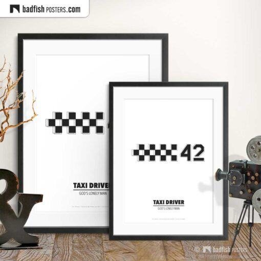 Taxi Driver   Cab Number 42   Minimal Movie Poster   Gallery Image   © BadFishPosters.com
